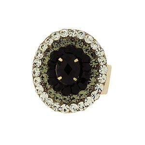 Anel oval Iza Perobelli ajustável cristal preto e fumê