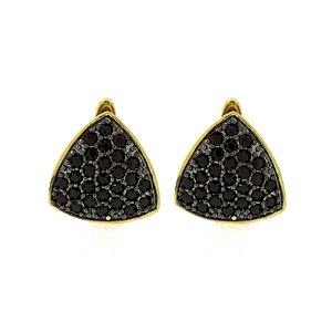 Brinco argolinha triângulo ouro zircônia negra semijoia