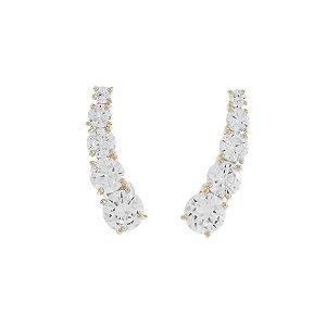 Ear cuff cristal ouro semijoia