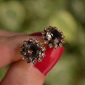 Brinco Claudia Arbex ouro cristal semijoia