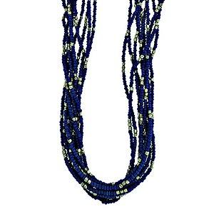Colar longo indiano azul