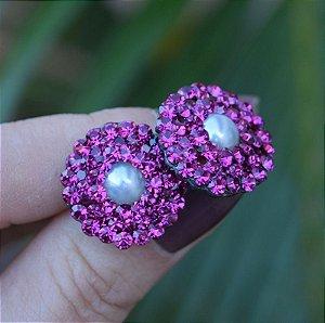 Brinco Leticia Sarabia pérola e cristal pink