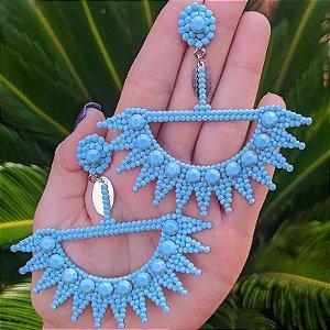 Brinco Leticia Sarabia cristal turquesa
