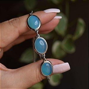 Pulseira ajustável pedra natural oval ágata azul céu ródio semijoia