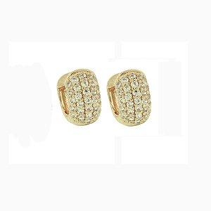 Brinco argolinha ouro zircônia cristal semijoia
