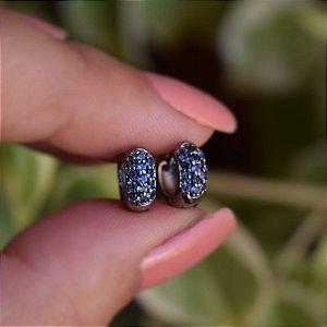 Brinco argolinha segundo furo azul ródio negro semijoia 12A14038