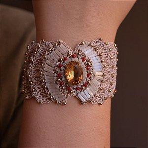 Bracelete Heliana Lages fio crochê nude semijoia