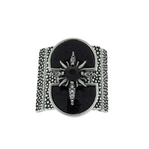 Anel ajustável Cláudia Arbex prata pedra natural estrela semijoia