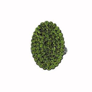 Anel ajustável oval Camila Seidl cristal verde oliva