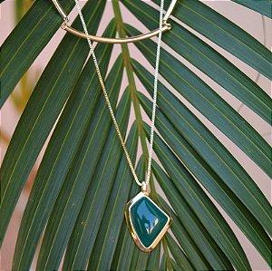 Colar choker duplo pedra natural ágata verde ouro semijoia