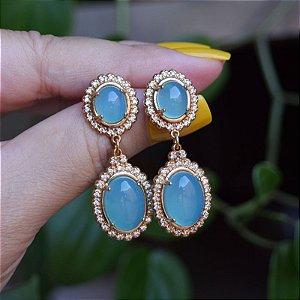 Brinco pedra dupla ágata azul céu ouro zircônia semijoia