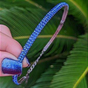 Choker fininho duplo Letícia Sarabia cristal azul safira