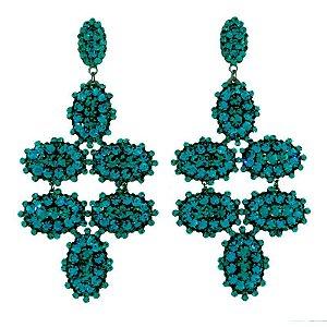 Brinco longo Leticia Sarabia cristal turquesa