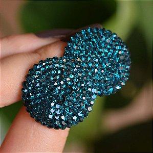 Brinco botão Iza Perobelli cristal azul