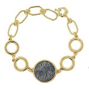 Pulseira ouro madrepérola mosaico cinza semijoia