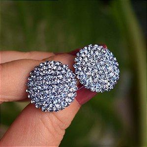 Brinco botão g Leticia Sarabia cristal azul claro