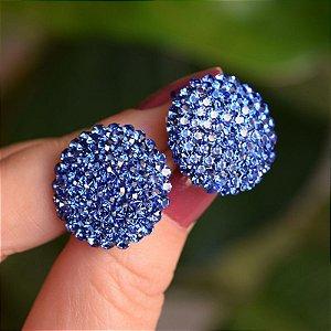 Brinco botão g Leticia Sarabia cristal azul