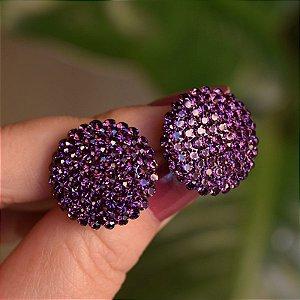 Brinco botão g Leticia Sarabia cristal uva