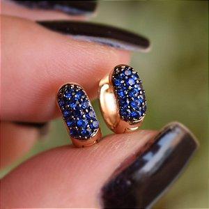 Brinco argolinha segundo furo ouro zircônia azul royal semijoia 12A14038