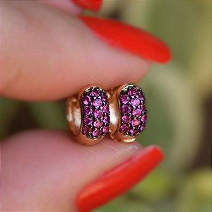 Brinco argolinha segundo furo pink ouro semijoia 12A14038