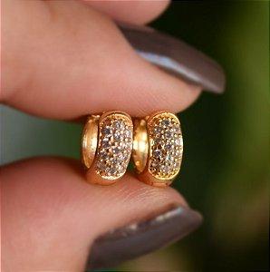 Brinco argolinha segundo furo ouro zircônia semijoia 12A14038