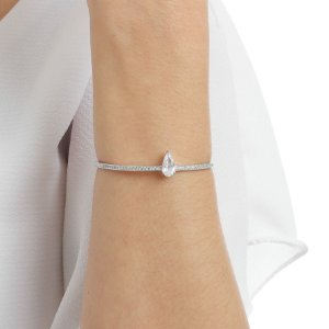 Bracelete fino gravata zircônia gota ródio  semijoia
