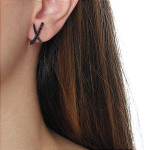 Brinco ear hook x  zircônia black ródio negro semijoia