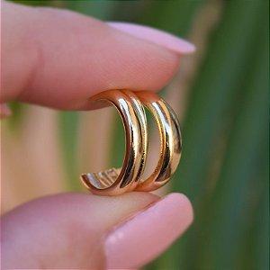 Piercing de encaixe 3 aros ouro semijoia