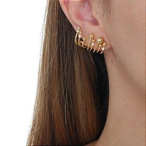 Brinco ear jacket esfera e zircônia ouro semijoia