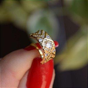 Piercing de encaixe zircônia ouro semijoia
