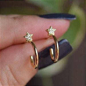 Brinco argolinha estrela p zircônia ouro semijoia