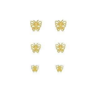 Brinco borboleta trio ouro semijoia