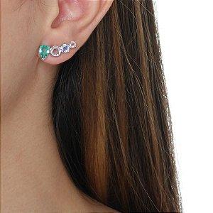 Brinco ear cuff cristal colorido zircônia ródio semijoia