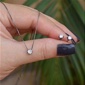 Colar e brinco ponto de luz zircônia cristal ródio negro semijoia