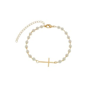 Pulseira pérola e crucifixo ouro semijoia