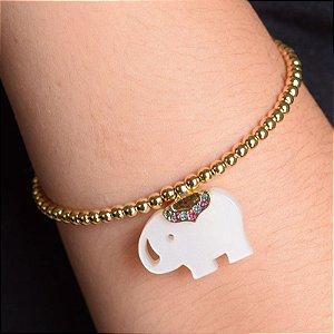 Bracelete esferas elefante ouro semijoia