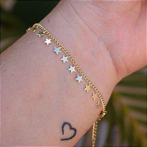 Pulseira estrela ouro semijoia