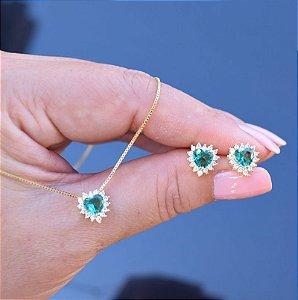 Colar e brinco coração esmeralda zircônia cristal ouro semijoia