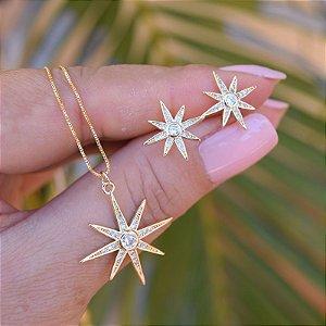 Colar e brinco estrela zircônia cristal ouro semijoia