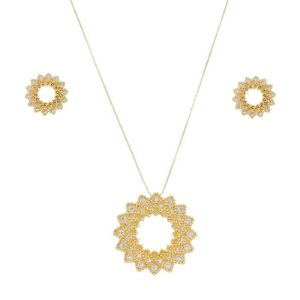 Colar e brinco mandala vazada zircônia cristal ouro semijoia