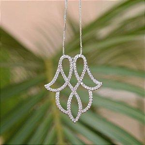 Colar folha zircônia cristal ródio semijoia