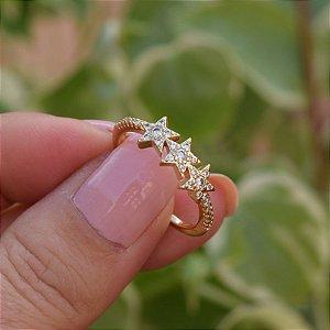 Anel 3 estrelas zircônia ouro semijoia