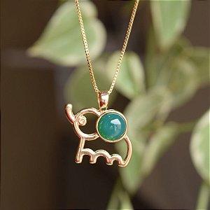 Colar elefante com pedra natural ágata verde ouro semijoia