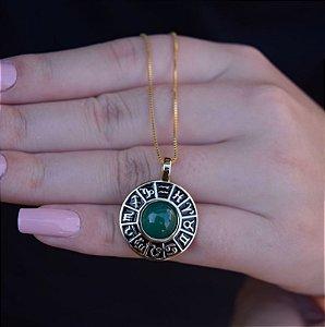 Colar roda do zodíaco pedra natural ágata verde ouro semijoia
