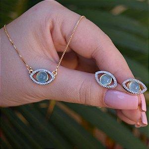 Colar e brinco olho grego com pedra natural ágata azul céu zircônia ouro semijoia