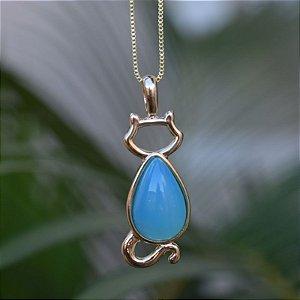 Colar gato com pedra natural ágata azul céu ouro semijoia