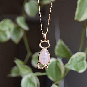 Colar gato com pedra natural quartzo rosa ouro semijoia