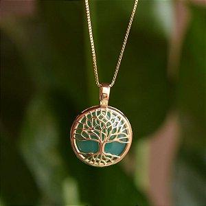 Colar árvore da vida p pedra natural ágata verde ouro semijoia