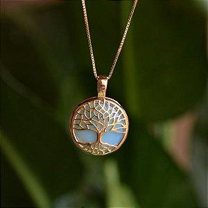 Colar árvore da vida p pedra natural opalina ouro semijoia