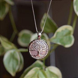 Colar árvore da vida p pedra natural quartzo rosa ródio semijoia